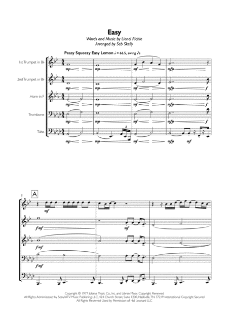 Lionel Richie Easy Like Sunday Morning For Brass Quintet Lionel Richie Easy Like Sunday Morning Digital Sheet Music