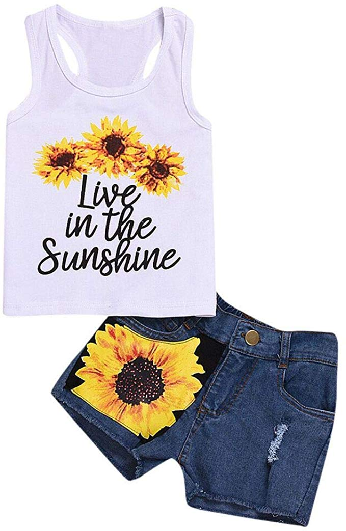2Pcs//Set Infant Baby Girl Sleeveless Ruffle Sunflower Tank Top+Denim Shorts Summer Outfit