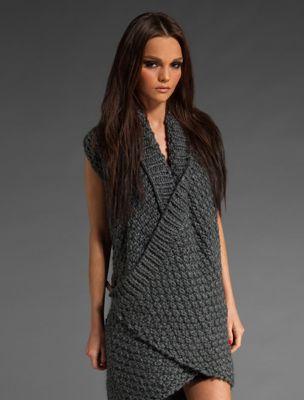 IMPROVD Cross Front Knit Cardi in Dark Grey