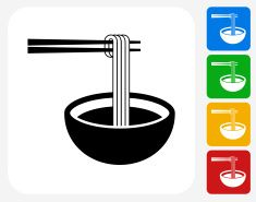 Noodle Soup Icon Flat Graphic Design Vector Art Illustration Eat Logo Grafik Design Branding Design