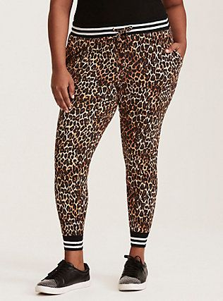 7ee0e04b4 Plus Size Torrid Active - Leopard Print Striped Band Skinny Jogger Pants,  LEOPARD