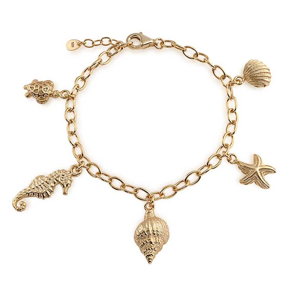 Gold Filled Nautical Anchor Fish Multicolor Beach Bracelet 75in