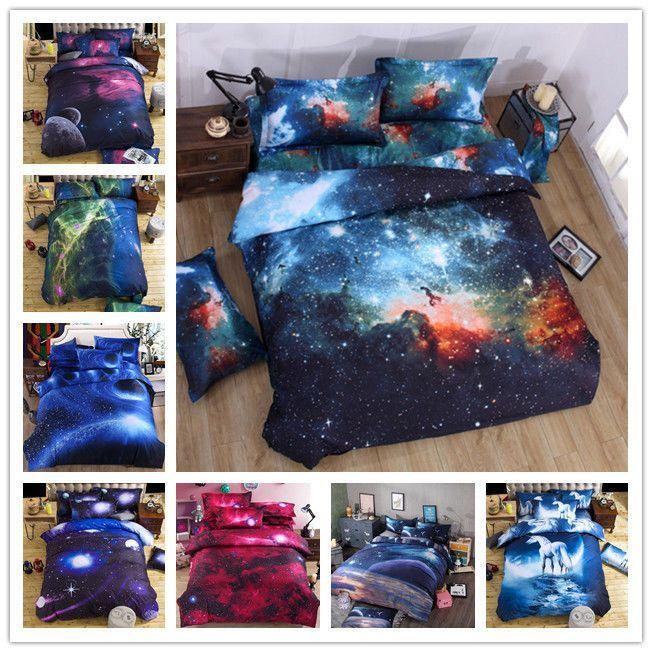 3D Galaxy Cotton Bedding Duvet Cover Set Quilt Cover Pillowcase Twin Queen Size