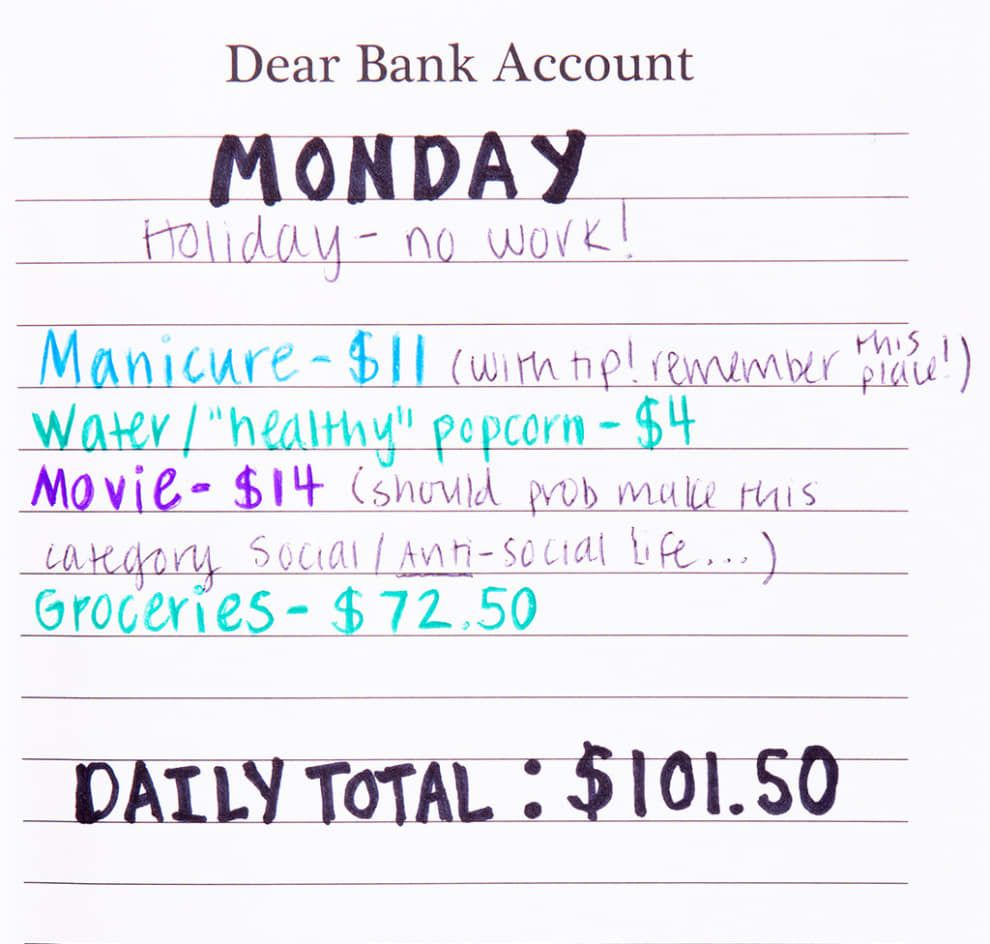 i kept an expense journal for a week to be a better budgeter tax