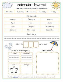calendar circle time journal sheet journal school and. Black Bedroom Furniture Sets. Home Design Ideas