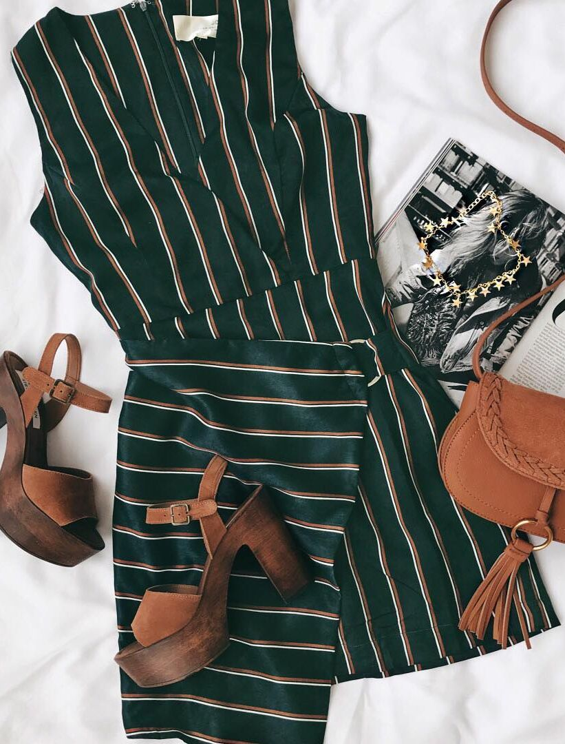 443c1d94a57a49 J.O.A Marlia Forest Green Striped Satin Sleeveless Dress