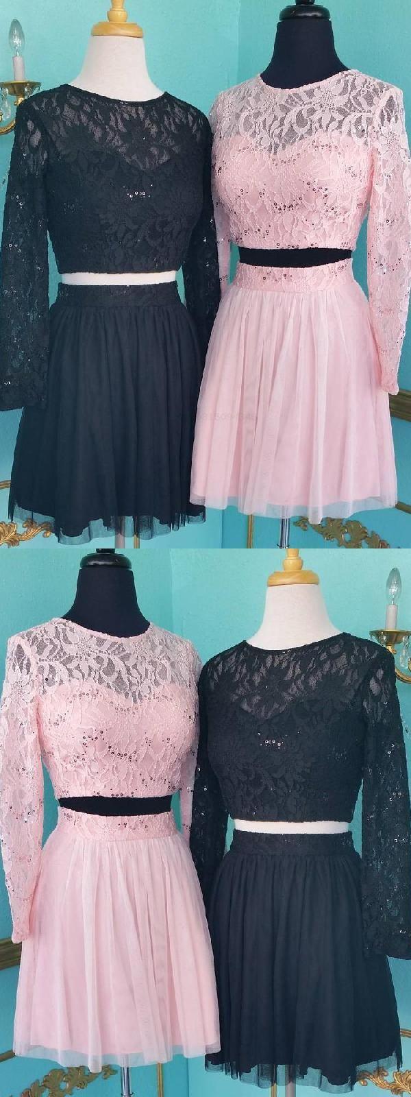 Homecoming dresses two piece prom dress short black prom dress