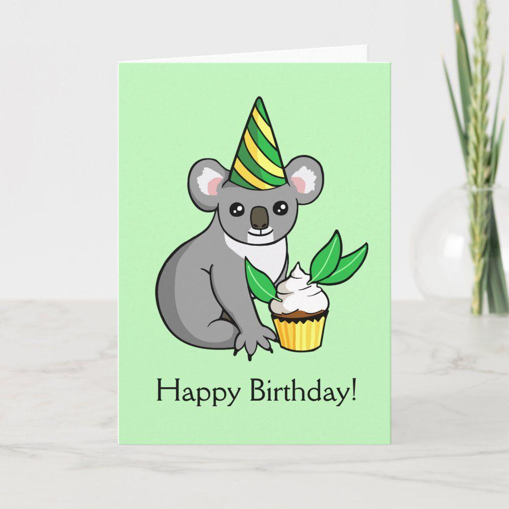 Cute Koala With Cake Drawing Happy Birthday Card Zazzle Com In 2021 Birthday Cards Happy Birthday Cards Happy Birthday Girls