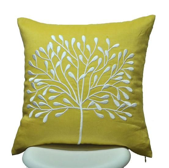 Yellow Linen Throw Pillow : Tree Pillow Cover, Yellow Linen White Tree Trees, Beautiful and .tyxgb76aj