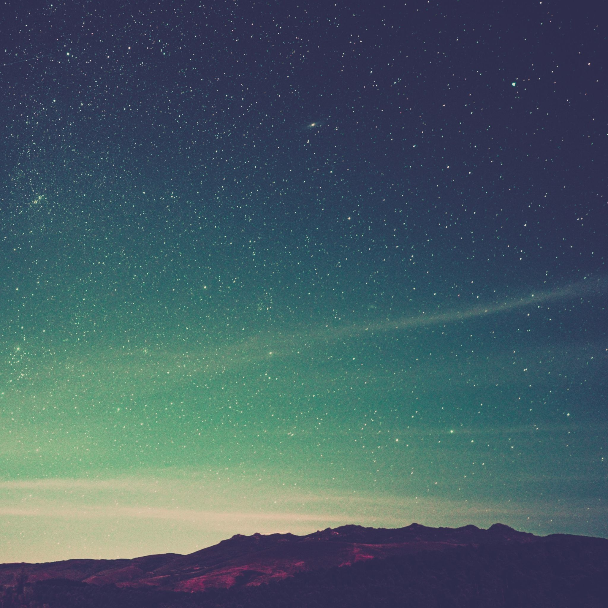 2048x2048 wallpaper starry sky, radiance, mountains, sky | mobile