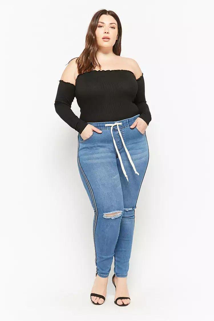 e8474955388 Plus Size Striped Drawstring Jeans  ootd  style  fashion  chic  elegant