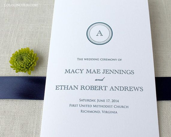 Macy Monogram Wedding Program SAMPLE by LoloLincoln on Etsy, $500 - wedding agenda sample