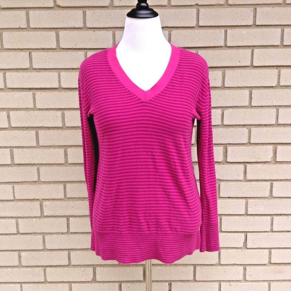 Pink dress shirt for women  Tommy Hilfiger Womens Sweater Pink Purple Striped Magenta Knit Shirt