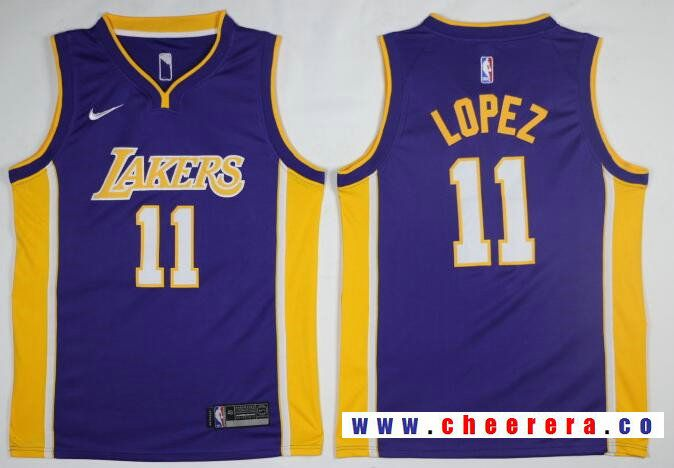 87a9d974e Men s Los Angeles Lakers  11 Brook Lopez New Purple 2017-2018 Nike Swingman  Stitched NBA Jersey