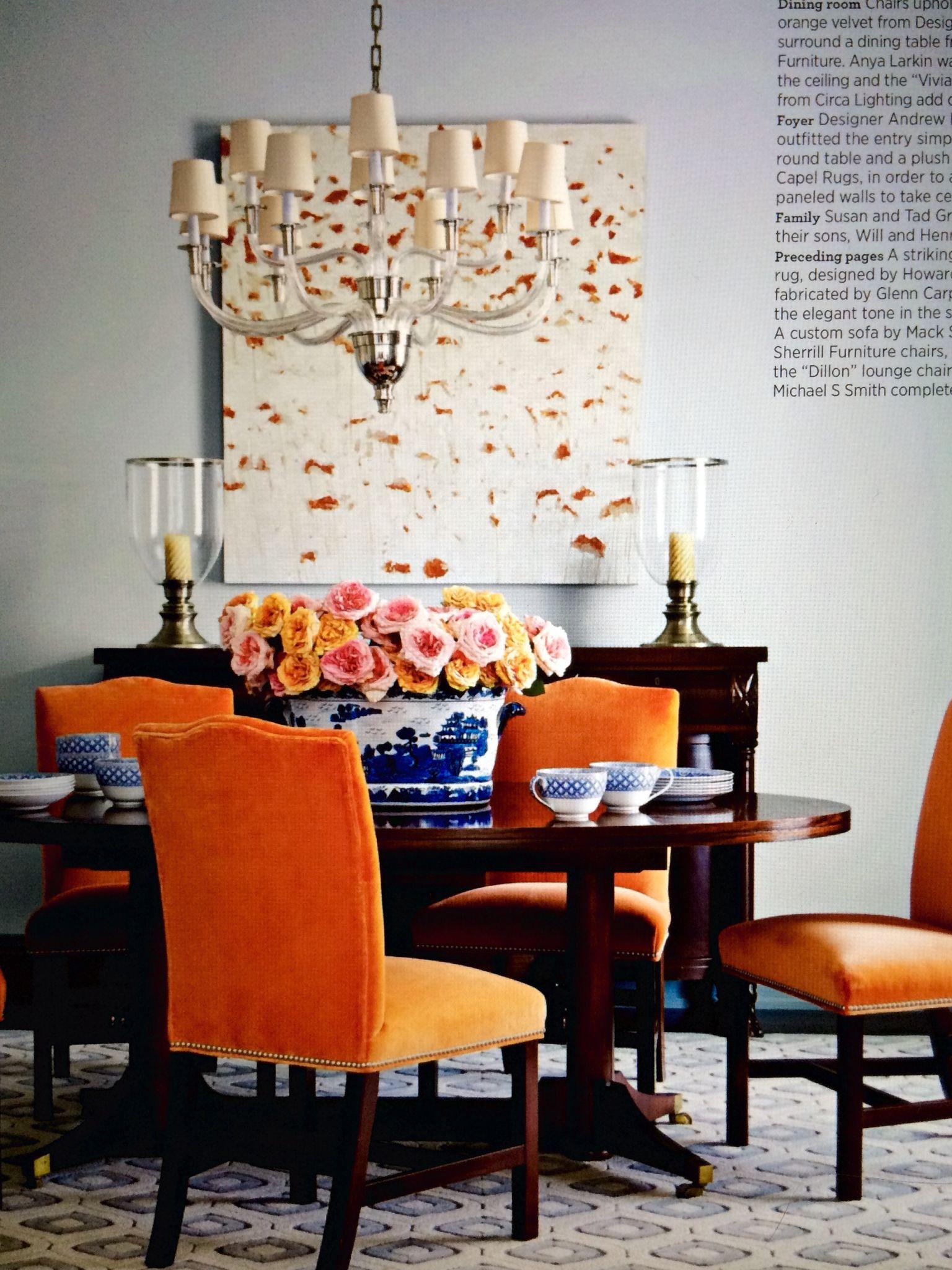 Lovely flowers | Trendy dining room, Orange dining room ...