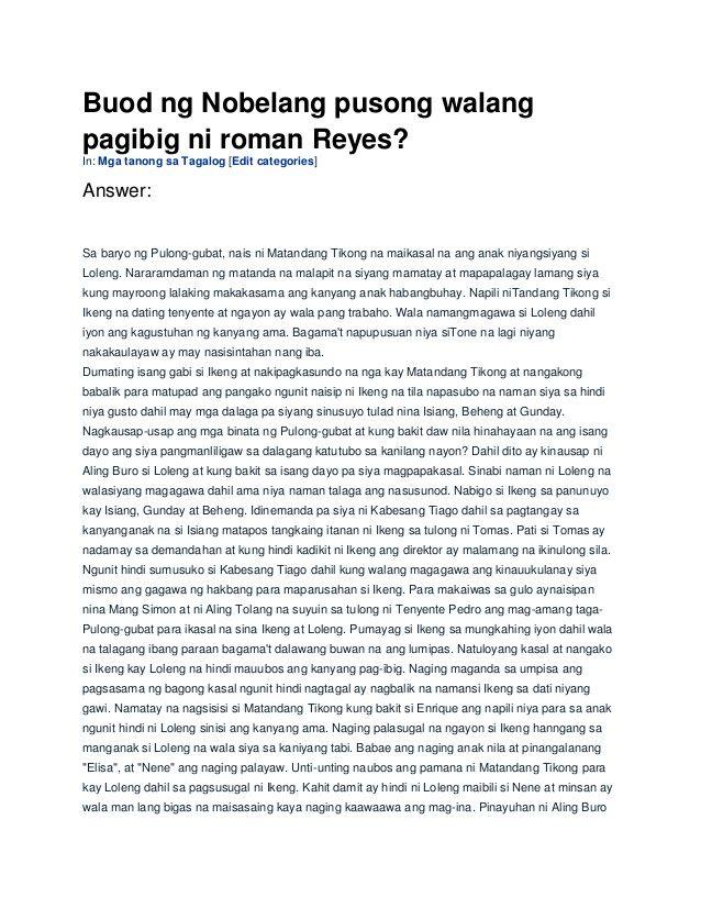 Buod ng Nobelang pusong walang pagibig ni roman Reyes? In: Mga ...