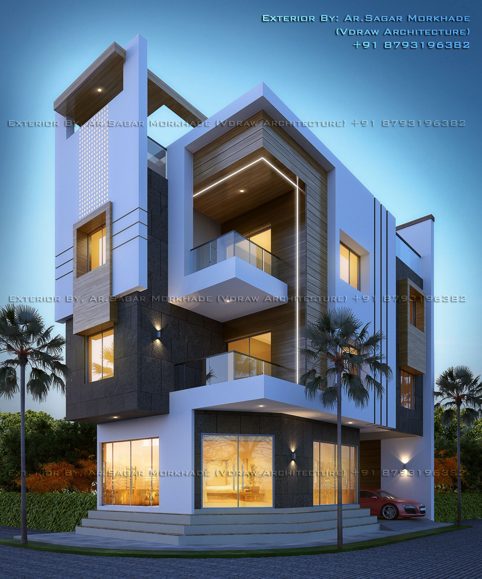 Modern residential house bungalow exterior by argar morkhade vdraw architecture also pin madhu kiranvarma on in design rh pinterest