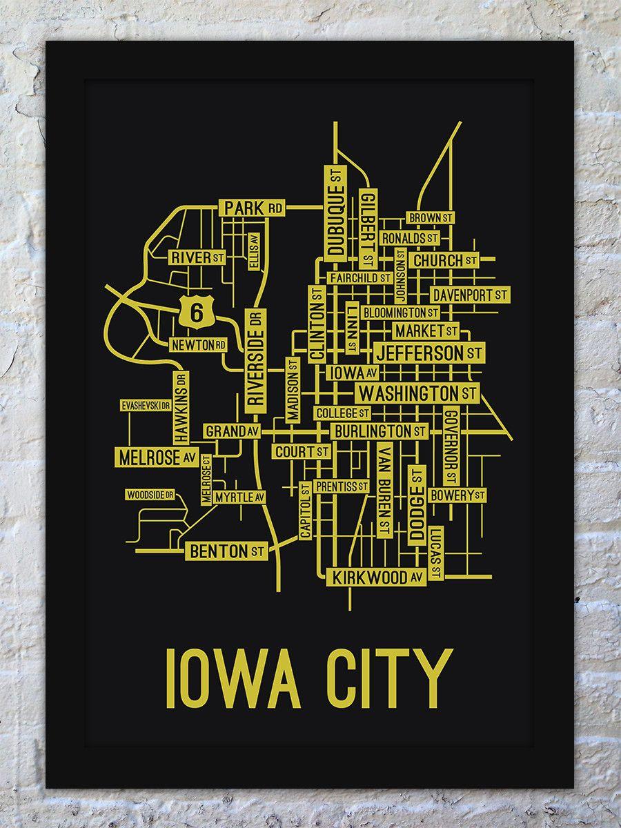 Iowa City Iowa Street Map Print With Images Map Print Iowa