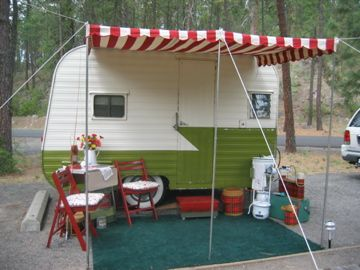 Girl Camping An Awning For Your Vintage Trailer Trailer Awning Vintage Trailers Caravan Awnings