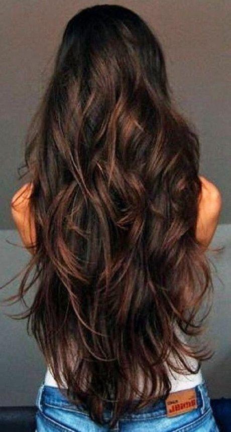 Lange Haare Stufenschnitt Hinten Frisuren Pinterest