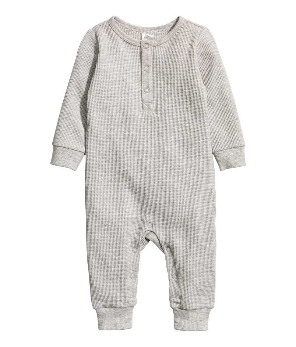 Long-sleeved jumpsuit in organic cotton jersey. Snap fasteners at front and  at gusset. ea140fc274a