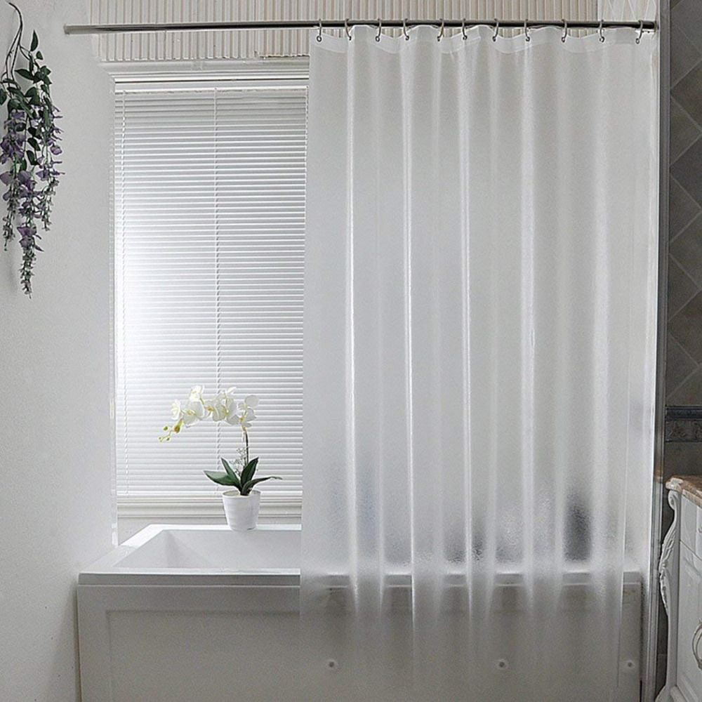 Frosted Shower Curtain Liner Mildew Resistant 3 Bottom Magnets 72x78 Inch Clear Aoohome
