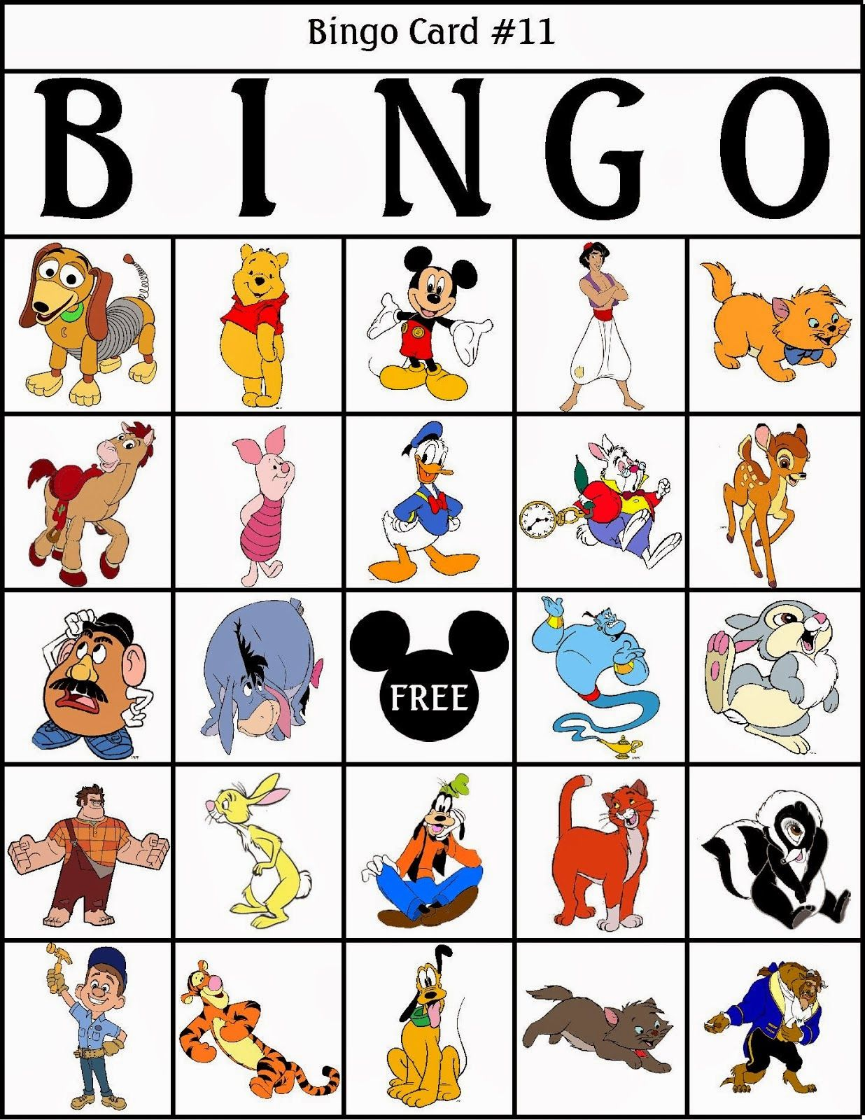 Bingo de Personajes Disney, para Imprimir Gratis. | Printables For ...