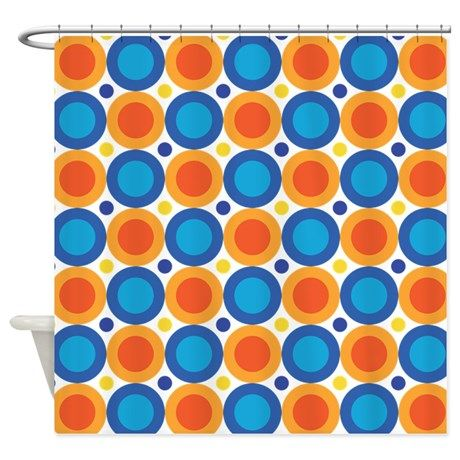 Circle Dots Orange Blue Shower Curtain By Homewiseshopper Blue
