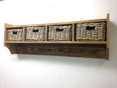Reclaimed Teak Coat Hook Storage Unit