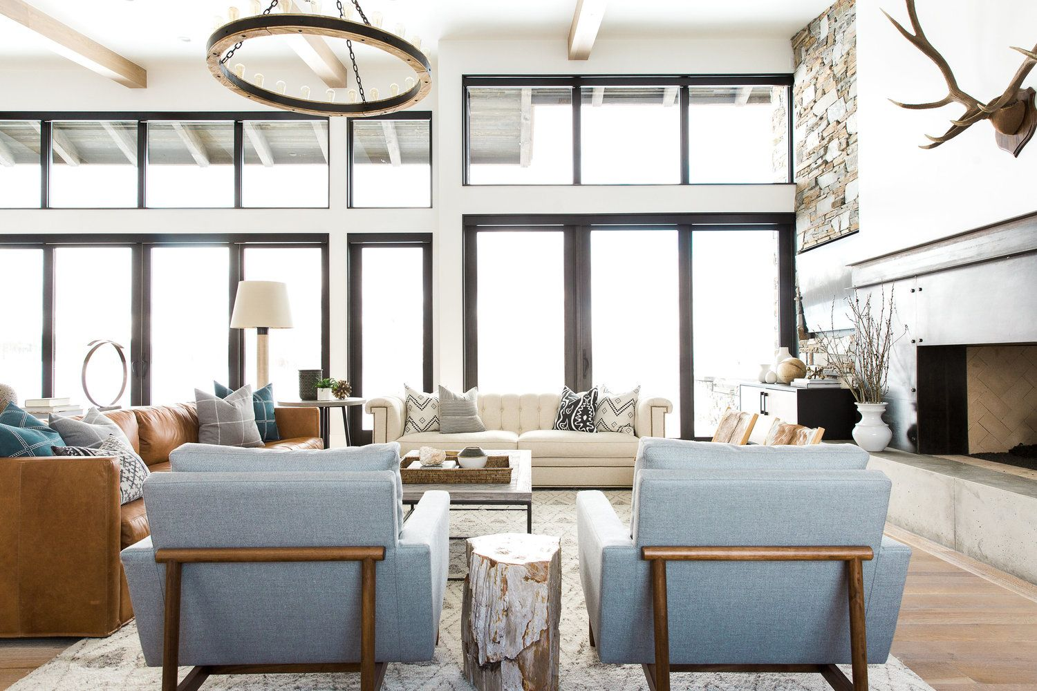 Modern Mountain Home Tour Great Room Kitchen Dining Mountain Living Room Modern Mountain Home Family Room Design