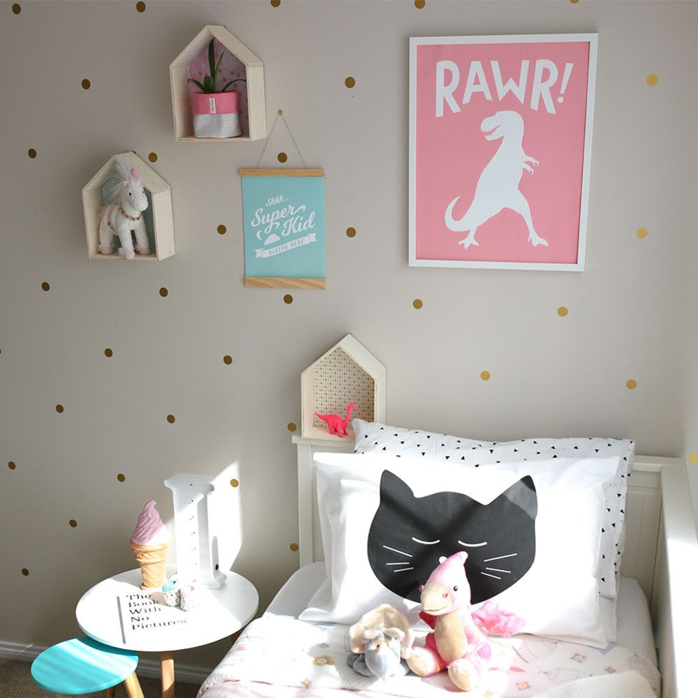 Girls Room Decor With Pink Dinosaur Wall Art