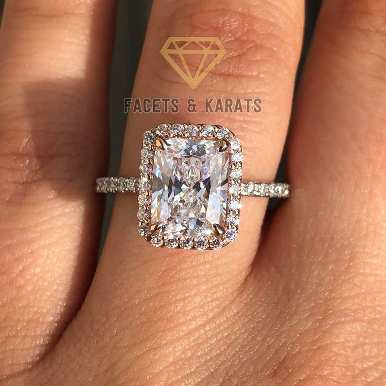Halo Engagement Ring 3.50 Carat Solid 14k White Gold Lab Created Man Made Synthetic Simulated Diamonds VVS1 D color Excellent Cut