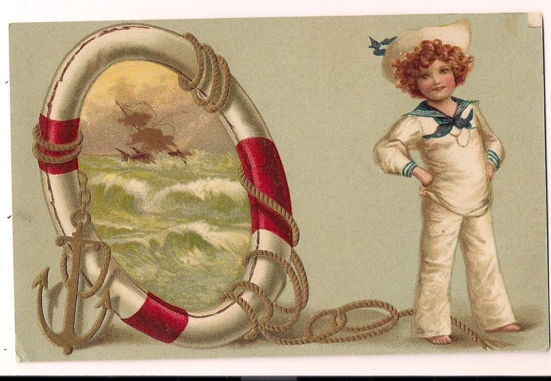 Barefoot Sailor Ocean Scene Anchor Greeting Postcard Bord De Mer Chromos