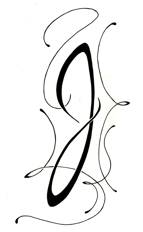 "lettering script ""J"" Art nouveau Tattoo original design ..."