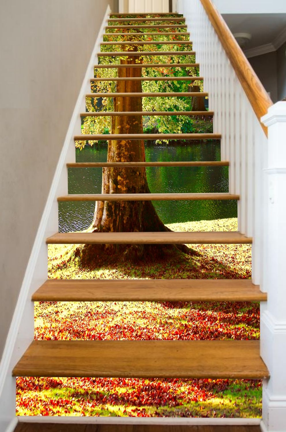 Indian Summer And The Air Is Crisp With Cool Autumn Leaves Riserart Brings These Soft Warm Days Into Your Hom Stairway Art Stairs Design Stair Risers