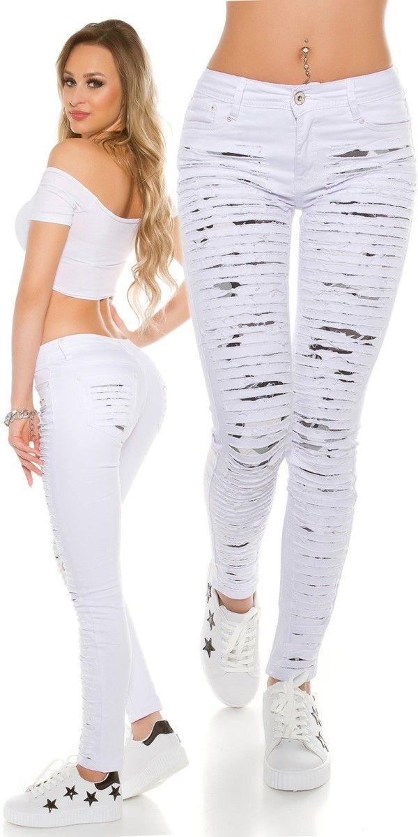 Dámské trhané džíny bílé   Jeans   Jeans, Skinny Jeans, Skinny f19dc6ea68