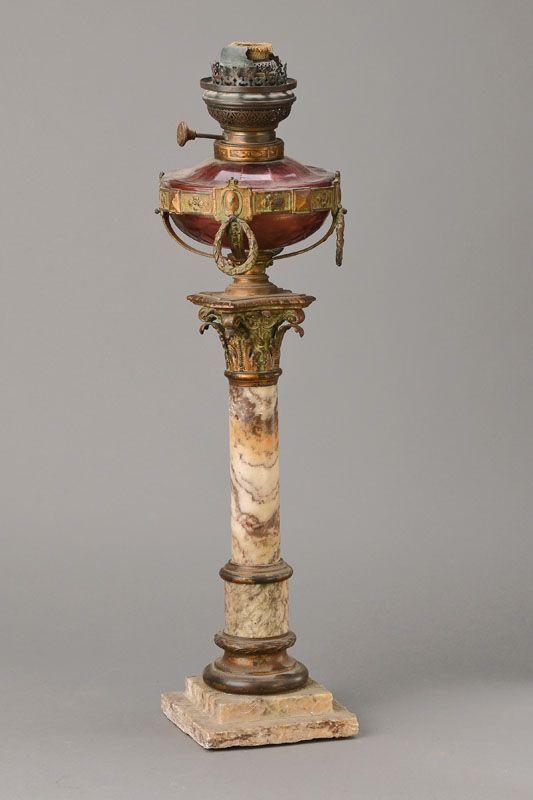 Petroleumlampe, Frankreich, um 1870, Marmorstiel mit