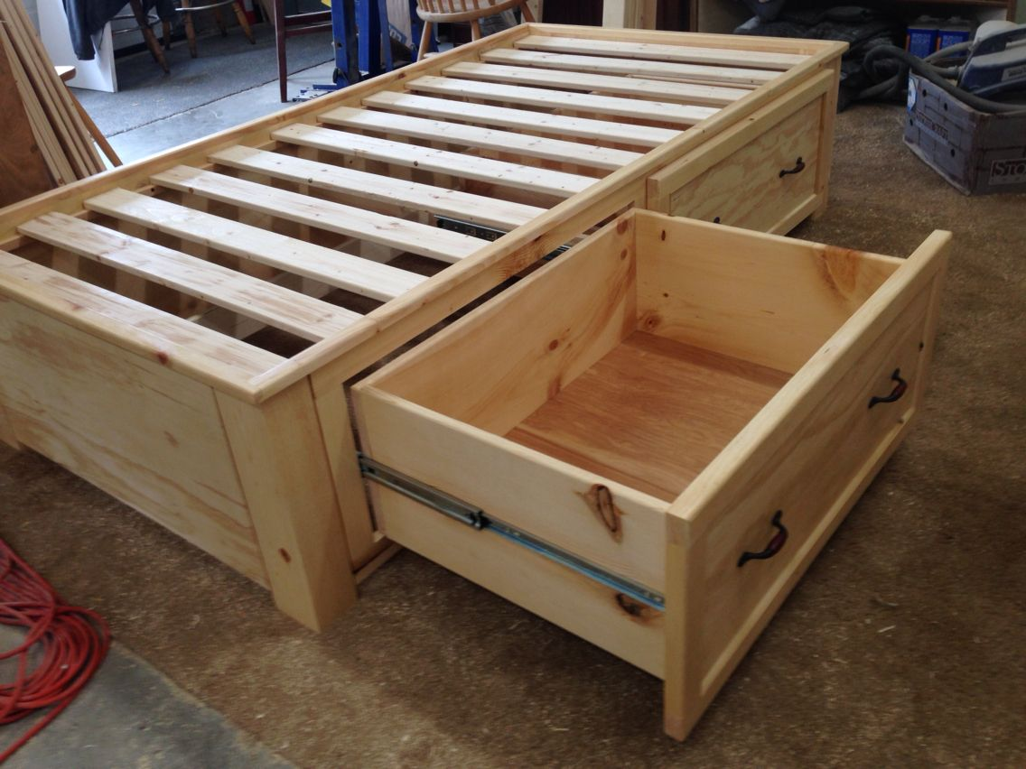 Twin Storage Bed With Full Extension Drawers Pallet Furniture