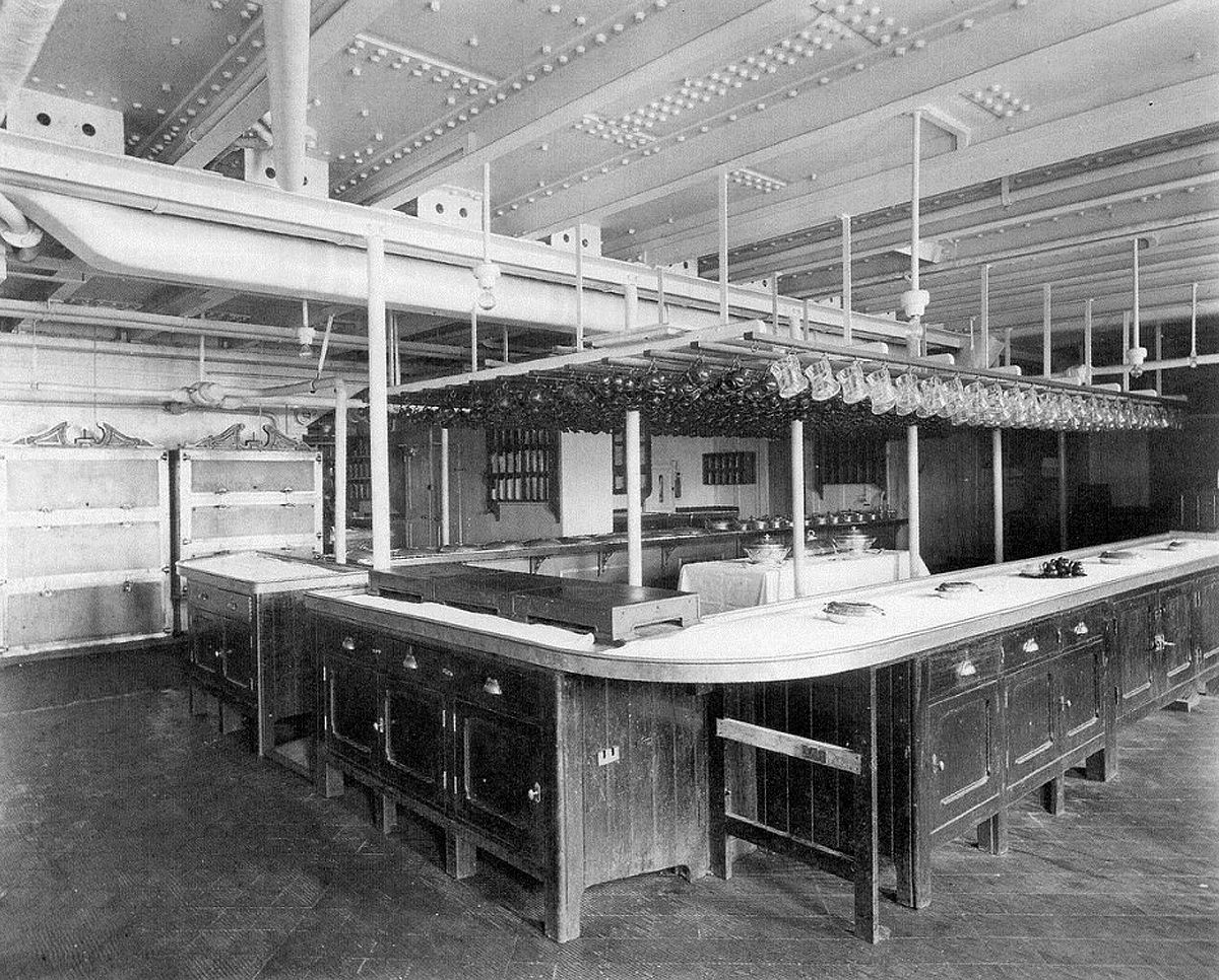 The First Class Pantry aboard RMS Olympic  Titanic s sister ship  Located  on D. The First Class Pantry aboard RMS Olympic  Titanic s sister ship