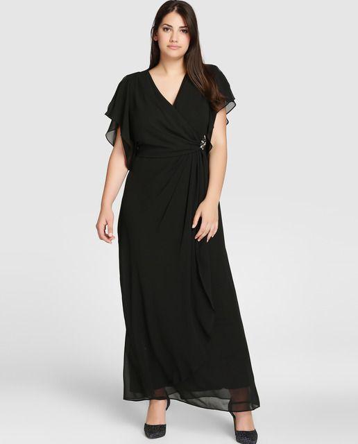 1de6978f50d8 Vestido de fiesta de mujer talla grande en color negro con broche ...