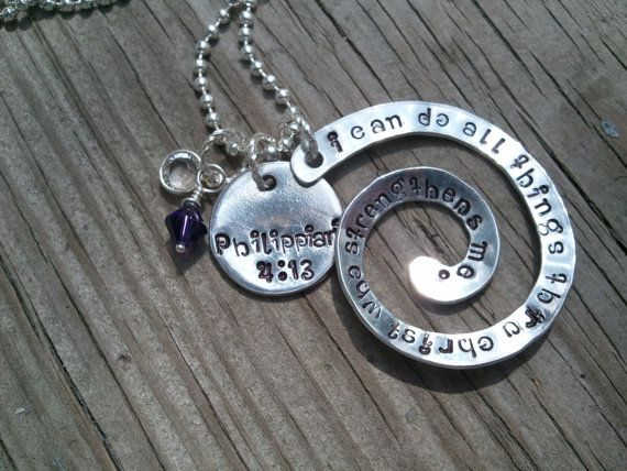 Bible Verse necklace Philippians 413  I can by GlassyChicBoutique, $20.00