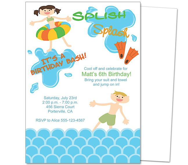 Kids Party  Pool Party Kids Birthday Party Invitation Template - birthday invitation templates free word