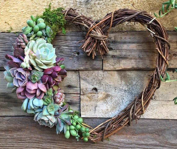 18″ Sweet Heart Wreath, Heart Shaped Grapevine Wreath Trimmed with Beautiful Succulents, birthday gift, Mothers Day gift