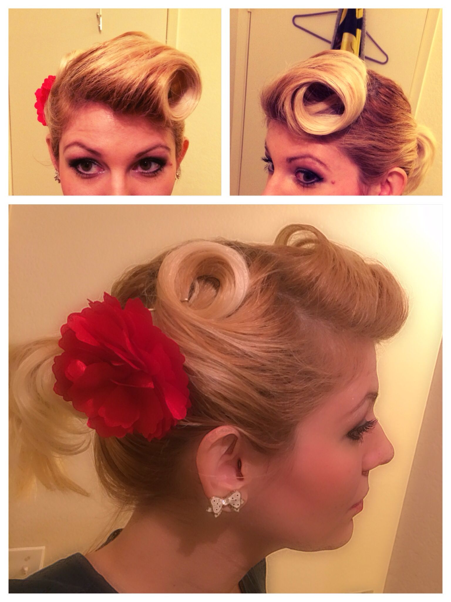 Adorable blonde 50s pin curls and pompadour hair Channel the pin up