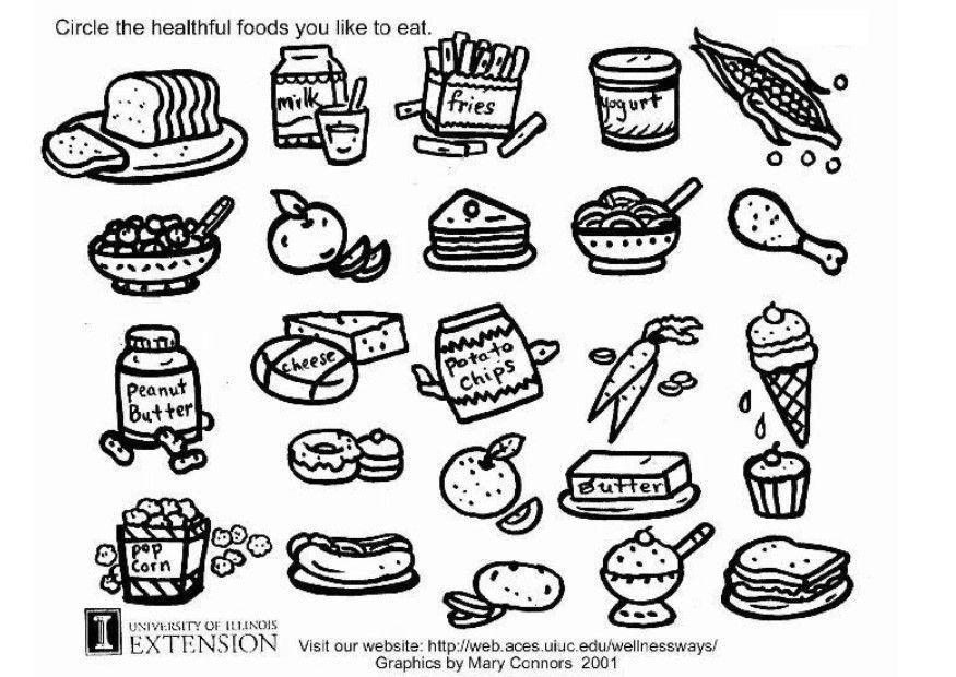 Dibujo para colorear Hoja de trabajo de comida sana - Img 5772 ...