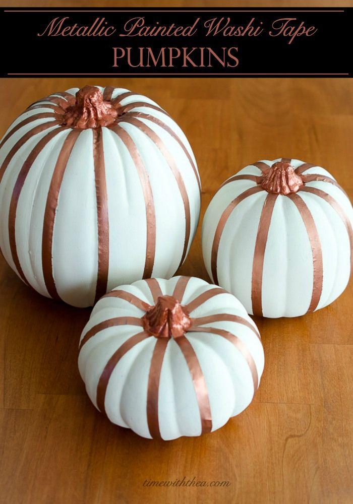 Metallic Painted Washi Tape Pumpkins Easily Give Faux A Custom Decorative Look By Painting Patterned With Spray Paint