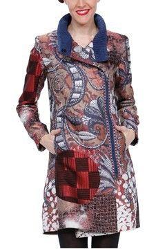 Desigual Abrig Blues Explosion Rust Tapestry Coat - $324