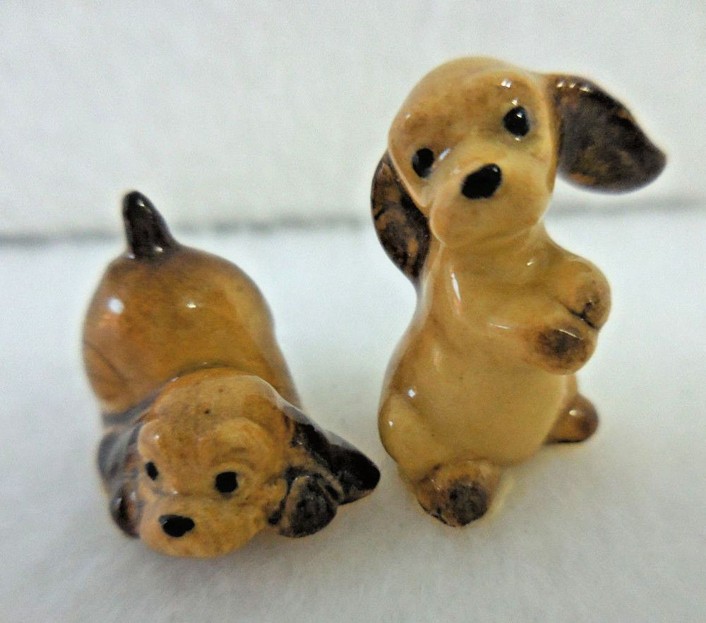 Vintage Hagen Renaker Miniature Dog Figurine Cocker Spaniel Puppies Cocker Spaniel Puppies Spaniel Puppies Miniature Dogs