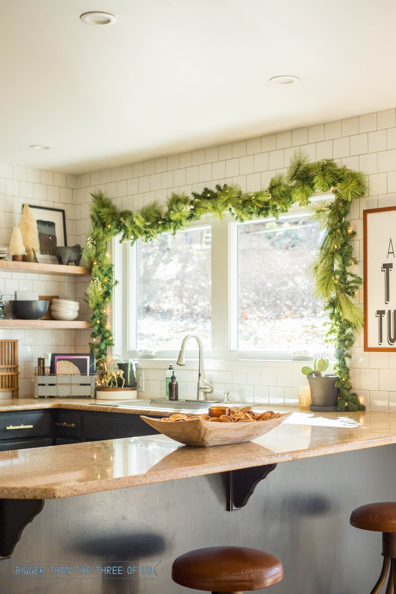 Christmas swag over kitchen windows with dried oranges in  bowl on granite countertop also interior house paint colors diy projects modern simple rh pinterest