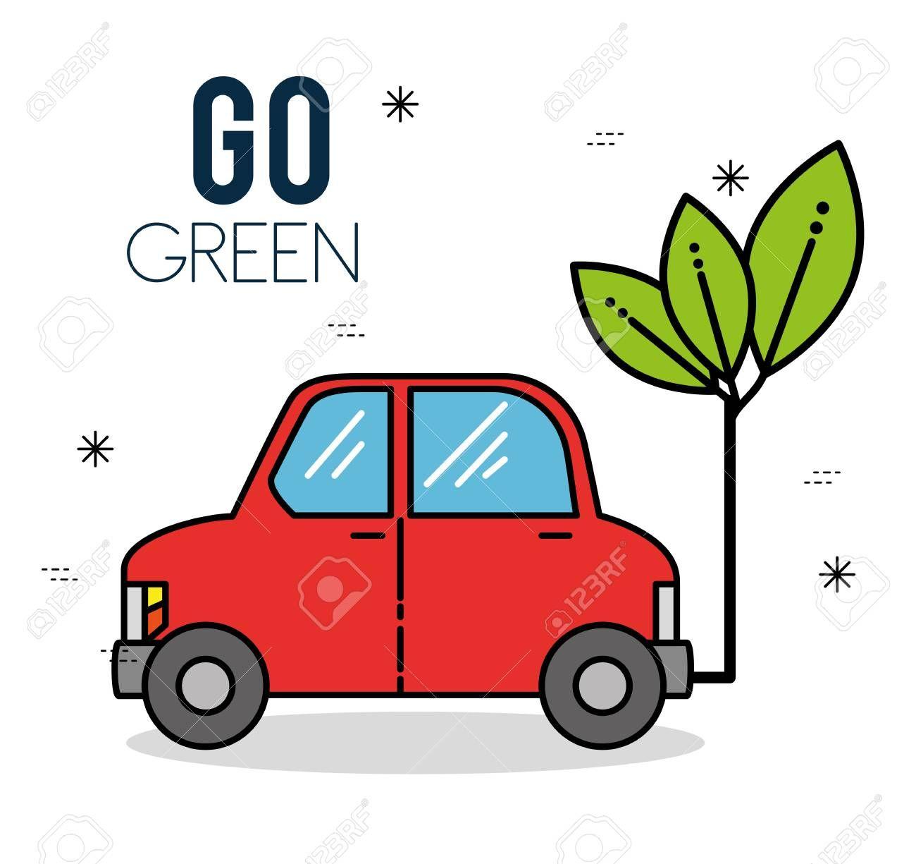 Eco Car Green Energy Ecology Environmentally Friendly Concept Vector Illustration Graphic Design Ad Energy Ecology Environm Graphisme Voiture Ecologie